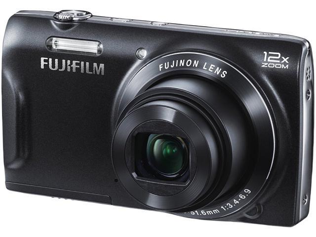 FUJIFILM FinePix T500 Black 16 MP 12X Optical Zoom 24mm Wide Angle Digital Camera