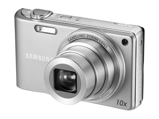 SAMSUNG PL 210 Silver 14.2 MP 10X Optical Zoom 27mm Wide Angle Digital Camera