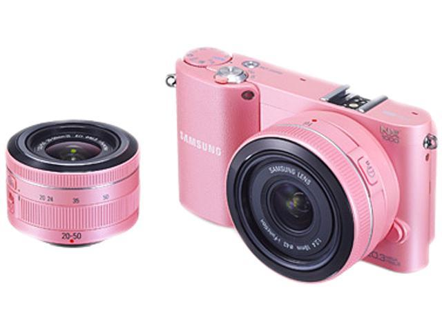 SAMSUNG NX1000 (EV-NX1000BLPUS) Pink Compact System Camera with 20-50mm and 16mm Lenses