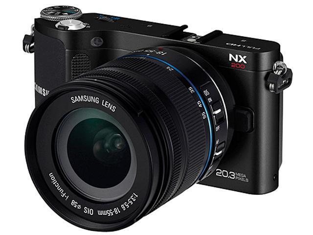 SAMSUNG NX200 (EV-NX200ZBSBUS) Black Mirrorless Digital Camera with 18-55mm Lens