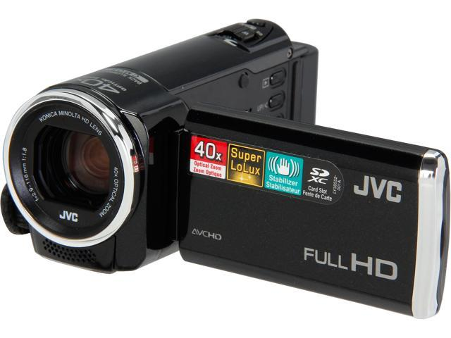 JVC 1080P SD Flash Camcorder With 40x Optical Zoom, Black - GZE100BUS
