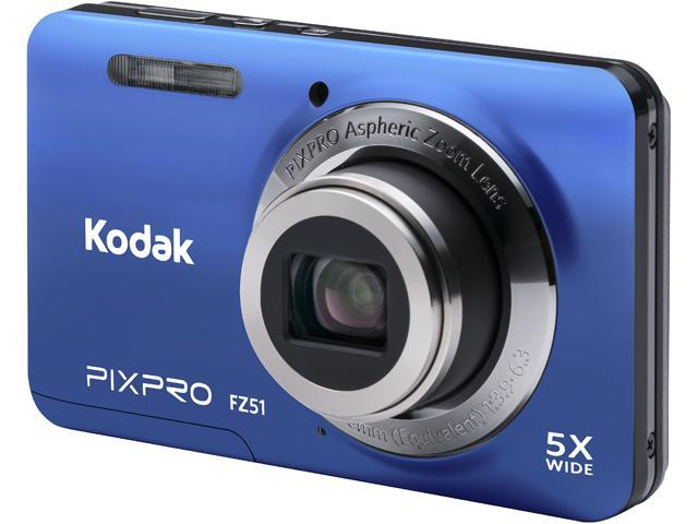 Kodak FZ51-BLU Blue 16.15 Megapixels 5X Optical Zoom Wide Angle Friendly Zoom Digital Camera