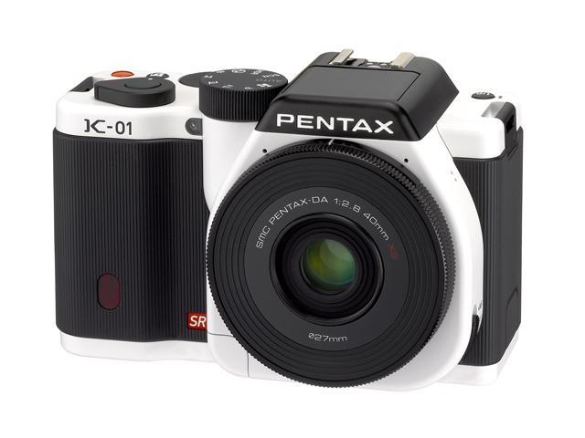 PENTAX K-01 (15423) White Digital SLR Camera with DA L 18-55 & 50-200 Dual Lenses
