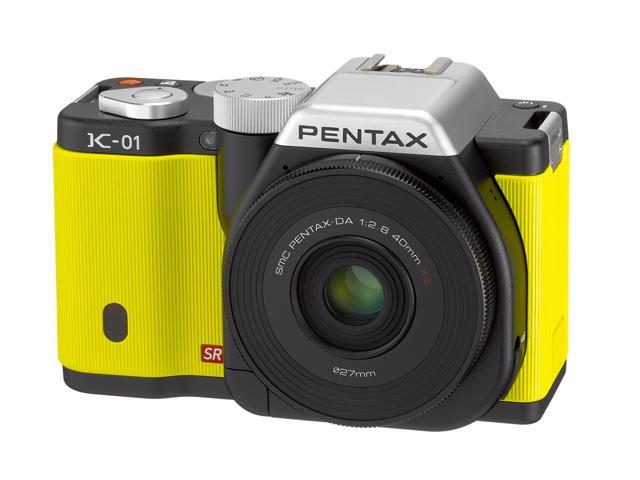 PENTAX K-01 (15372) Yellow Digital SLR Camera with DA L 18-55 & 50-200 Dual Lenses