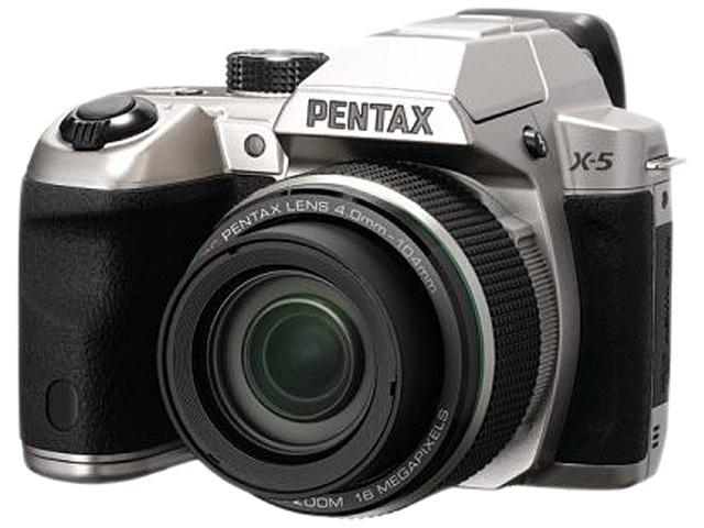 PENTAX X-5 Silver 16 MP 26X Optical Zoom Digital Camera HDTV Output