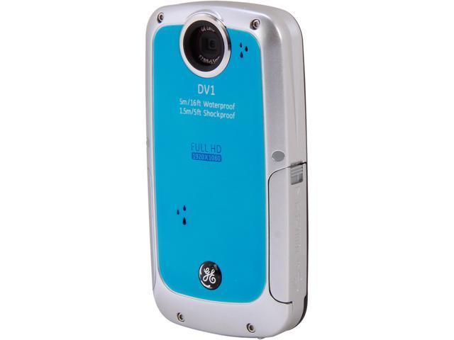 GE DV1 Waterproof/Shockproof 1080P Pocket Video Camera Aqua Blue