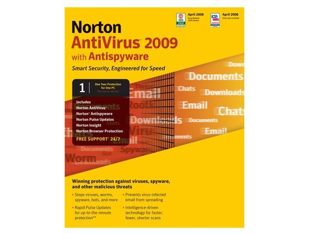 Symantec Norton AntiVirus 2009 - 1 User - Small box