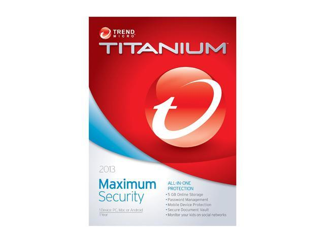 TREND MICRO Titanium Maximum Security 2013 - 1 User