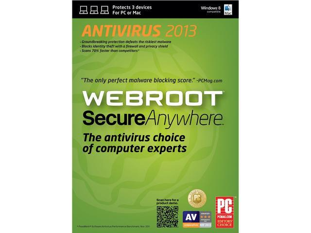 Webroot SecureAnywhere Antivirus - 3 Device - Download