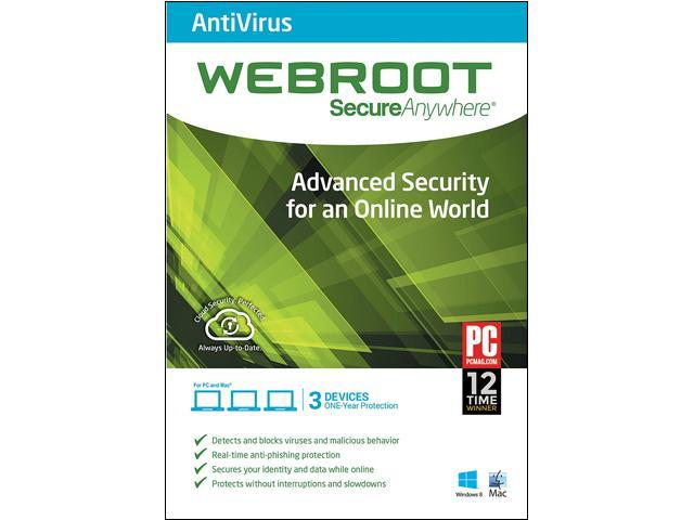 Webroot SecureAnywhere AntiVirus, PC/Mac - 3 Devices