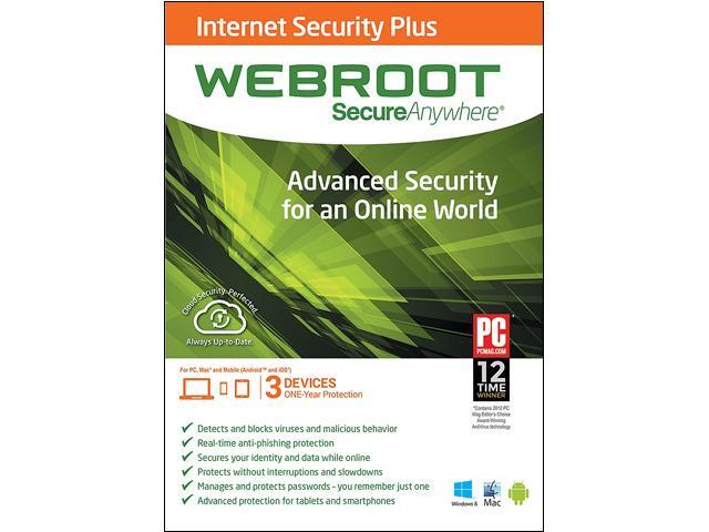 Webroot SecureAnywhere Internet Security Plus, PC/Mac/Mobile - 3 Devices