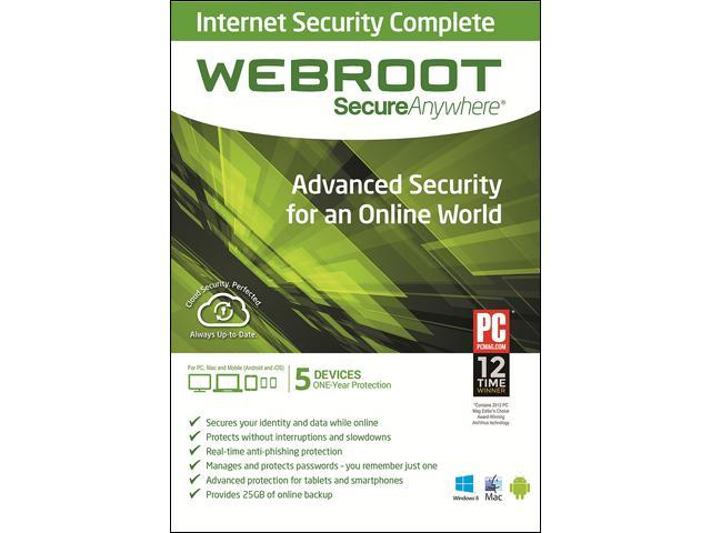 Webroot SecureAnywhere Internet Security Complete, PC/Mac/Mobile - 5 Devices