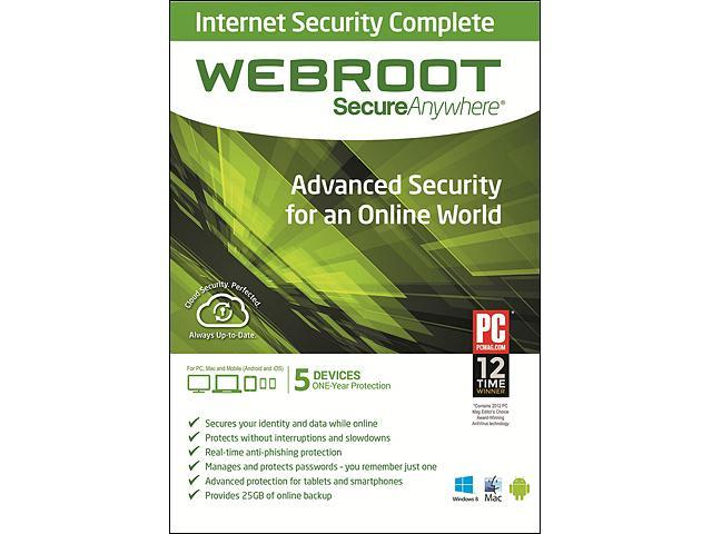 Webroot SecureAnywhere Internet Security Complete 2014 5 Devices - Download