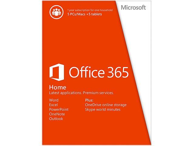 Microsoft Office 365 Home - 5 Devices, 1 Year Subscription (Product Key Card)