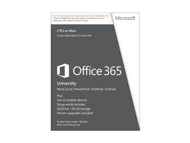 Microsoft Office 365 University – (2 PCs or Macs, 4 Years) Verification Required