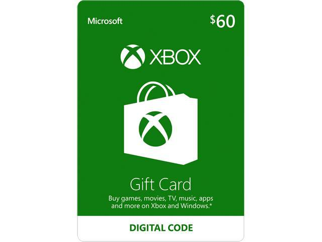 Xbox Gift Card $60 US (Email Delivery) - Newegg.com