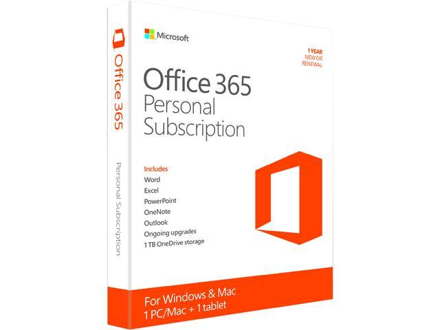 Microsoft Office 365 Personal - 1 PC/Mac + 1 Tablet, 1-Year Subscription - Download