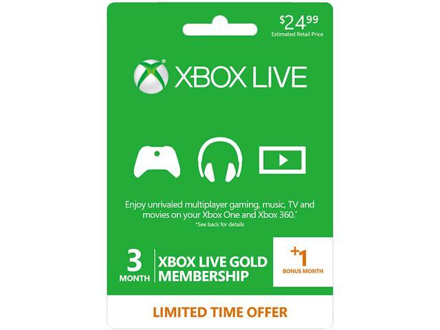 Xbox Live Prepaid  3+1 Month Gold Membership Card (Digital Code)