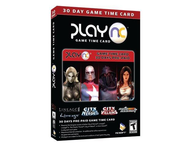 PlayNC 30 Day Time Card for City of Heroes, Lineage I & II, City of Villians PC Game