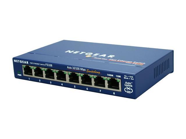 Netgear prosafe 8 port fast ethernet switch fs108 lifetime warranty - 8 port fast ethernet switch ...