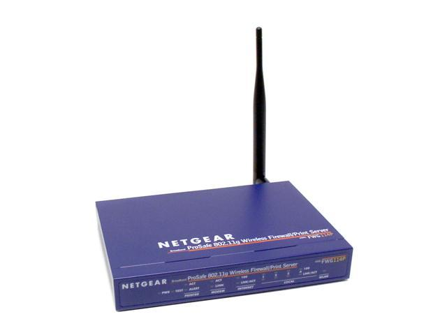 NETGEAR FWG114P 802.11g Wireless VPN Firewall 55.9 Mbps WAN-to-LAN throughput 20 Mbps Average Wireless throughput 54 Mbps Wireless Speed