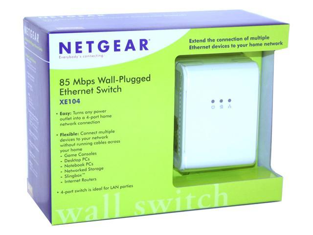 NETGEAR XE104 85 Mbps Wall-Plugged Ethernet 4-port Switch Up to 85Mbps