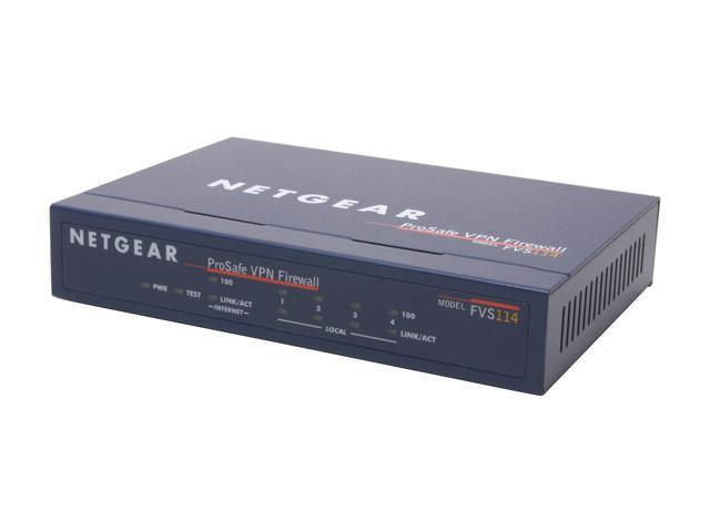 NETGEAR FVS114 Up to 11.5 Mbps WAN-to-LAN, up to 2.1 Mbps for 3DES throughput LAN ports: Four 10/100 Mbps RJ-45 ports WAN port: 10/100BASE-T RJ-45 port Firewall 8 with 4-port Switch