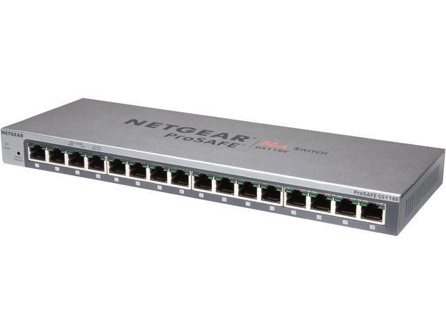 NETGEAR ProSAFE 16-Port Gigabit Desktop Web Managed (Plus) Switch (GS116E) - Lifetime Warranty
