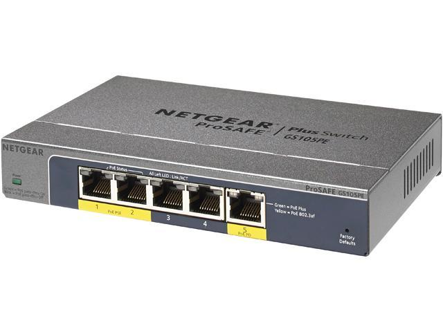 NETGEAR ProSAFE 5-Port PD Pass-through Gigabit Web Managed (Plus) Switch (GS105PE) - Lifetime Warranty