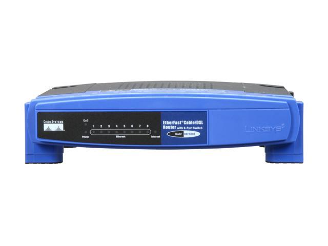 LINKSYS BEFSR81 EtherFas Cable/DSL Router 1 x 10Mbps WAN Ports 8 x 10/100Mbps LAN Ports