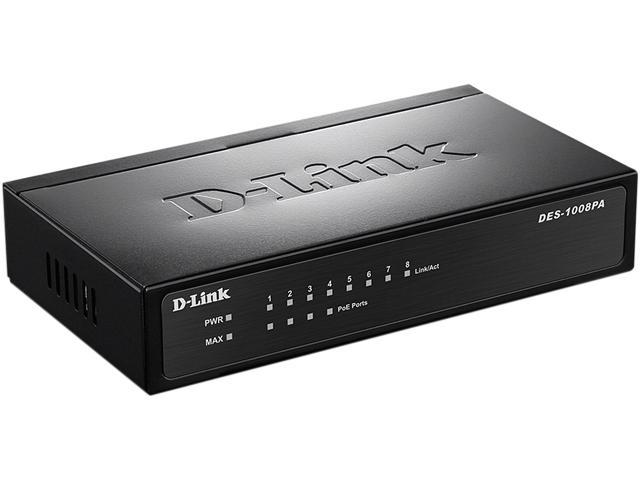 D-Link DES-1008PA Unmanaged Desktop Switch with 4 PoE Ports