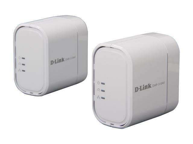 D-Link PowerLine AV Mini Adapter Starter Kit (DHP-311AV) Includes 2 Adapters, Up To 200Mbps