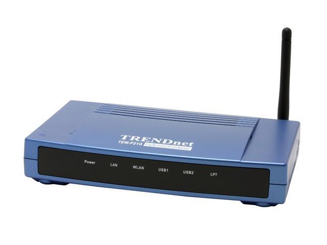 TRENDnet TEW-P21G Wireless 3-Port Print Server 802.11b / g, RJ45 1x Parallel DB25 (Female) Port. 2 x USB 2.0, 1.1 Compliant USB Type A Port.