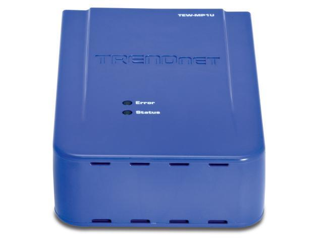 TRENDnet TEW-MP1U Wireless 1-Port Multi-Function Print Server Wired: IEEE 802.3 10Base-T, IEEE 802.3u 100Base-TX Wireless: IEEE 802.11b/g USB 2.0, 1.1 Compliant USB Type A Port