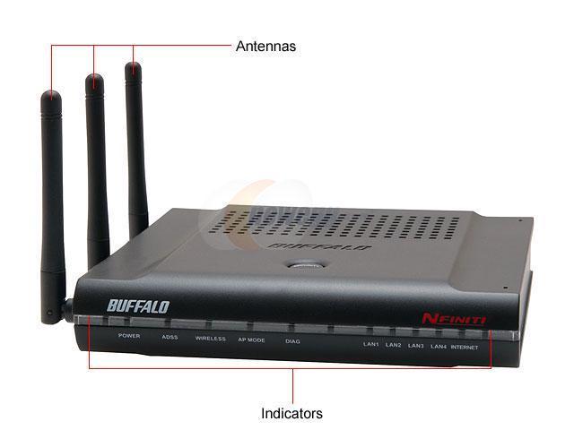 BUFFALO WZR2-G300N Wireless-N NFINITI Router IEEE802.11n draft 2.0, IEEE802.11b, IEEE802.11g, IEEE802.3u, IEEE802.3