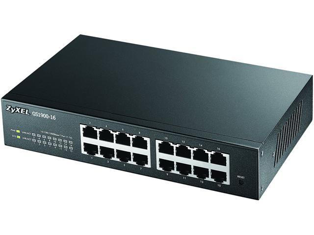 ZyXEL GS1900-16 Fanless 16 Port Smart 10/100/1000Mbps L2 Web Managed Switch