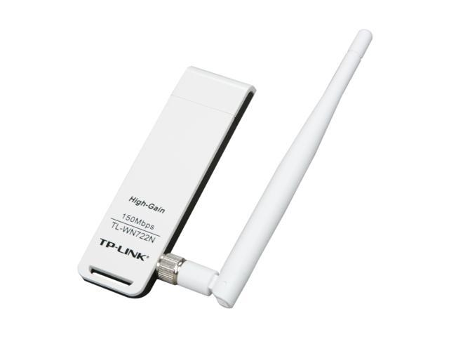 TP-LINK TL-WN722N Wireless N150 High Gain USB Adapter, 150Mbps, w/4