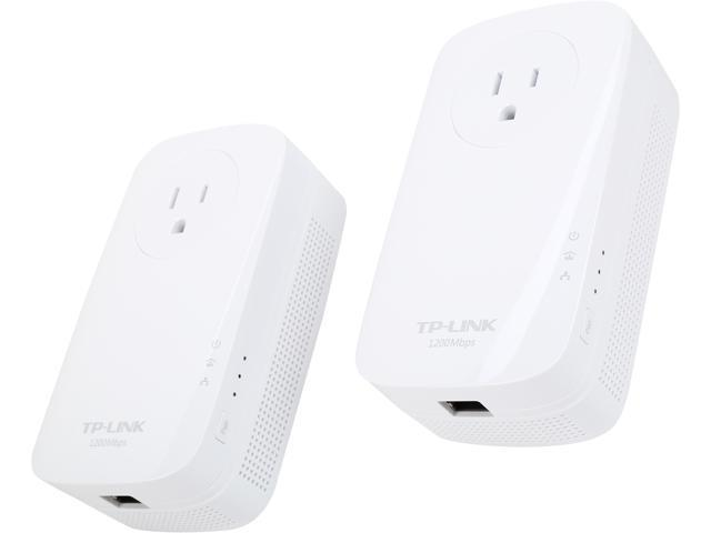 TP-LINK TL-PA8010P KIT HomePlug AV2 MIMO AV1200 Gigabit Pass-through Powerline Starter Kit, up to 1200Mbps
