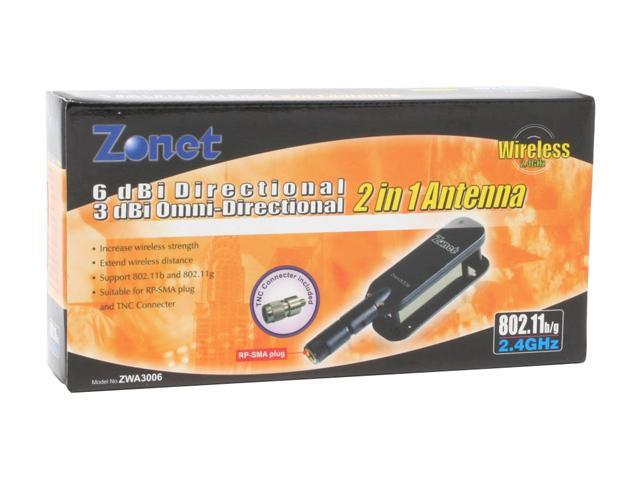 Zonet ZWA3006 6dBi Directional/3dBi Omni-Directional 2-In-1 Wireless Antenna
