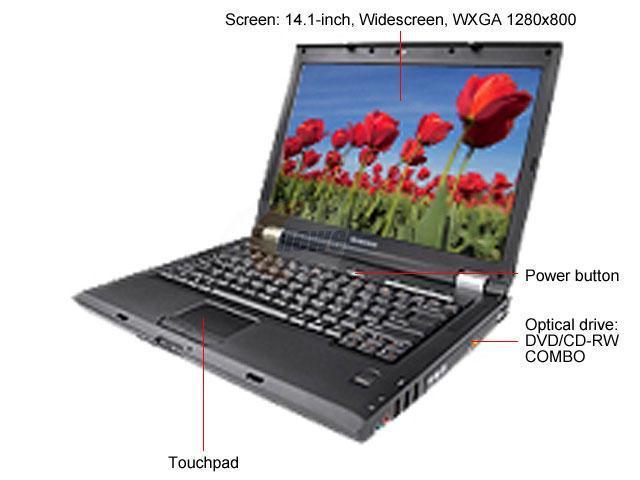"lenovo 3000 N Series N100(0689E2U) NoteBook Intel Pentium dual-core T2060(1.60GHz) 14.1"" Wide XGA 512MB Memory DDR2 667 80GB HDD 5400rpm DVD/CD-RW Combo Intel GMA950"