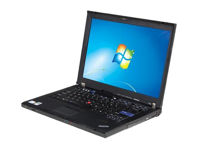 "ThinkPad Laptop T Series T400 2.40 GHz 2 GB Memory 160 GB HDD 14.1"" Windows 7 Professional"