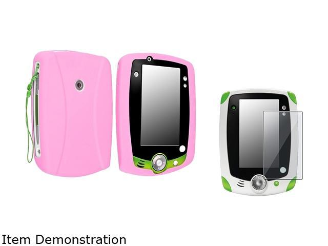 Insten Baby Pink Skin Gel Rubber Shell Case with Clear Protector For LeapFrog LeapPad 2 975150