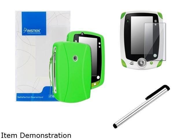 Insten Green Skin Gel Rubber Shell Case with Clear Protector and Stylus For LeapFrog LeapPad 2 2050622