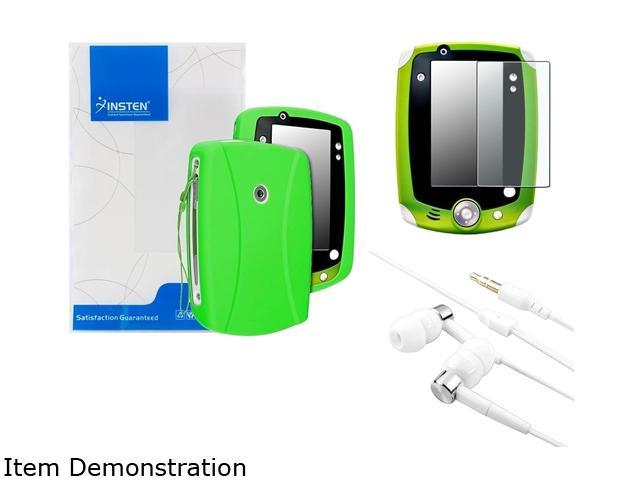 Insten Green Skin Gel Rubber Shell Case with Matte Protector with Headset For LeapFrog LeapPad 2 2050623