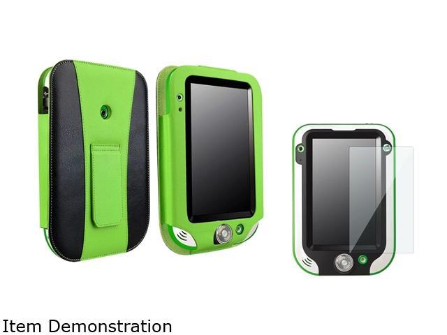 Insten Green / Black Leather Flip Folio Case with Clear Protector For LeapFrog LeapPad Ultra 1472906