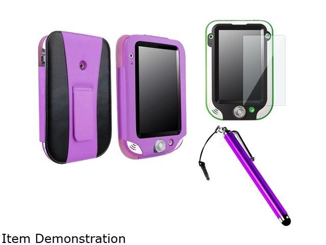 Insten Purple / Black Leather Flip Folio Case with Clear Protector and Stylus For LeapFrog LeapPad Ultra 1472907