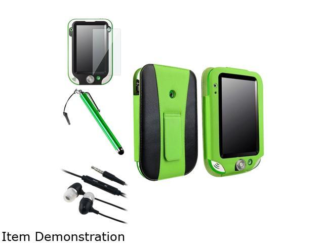 Insten Green / Black Leather Flip Folio Case with Clear Protector and Stylus and Headset For LeapFrog LeapPad Ultra 1472910