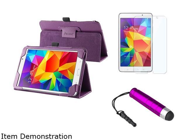 Insten Purple Stand Leather Flip Folio Case with Clear Protector and Mini Stylus For Samsung Galaxy Tab 4 7.0 1991410