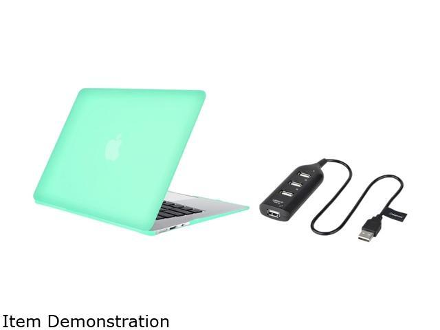 Insten Ocean Green Snap-in Rubberized Hard Case + Black USB Hub For Apple MacBook Air 13-inch