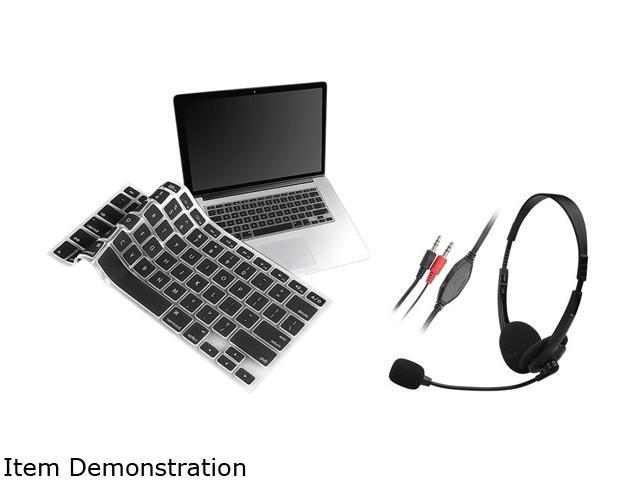Insten Black VOIP/SKYPE Hands-Headset Microphone + Black Silicone Keyboard Cover Skin For Apple MacBook Pro 13